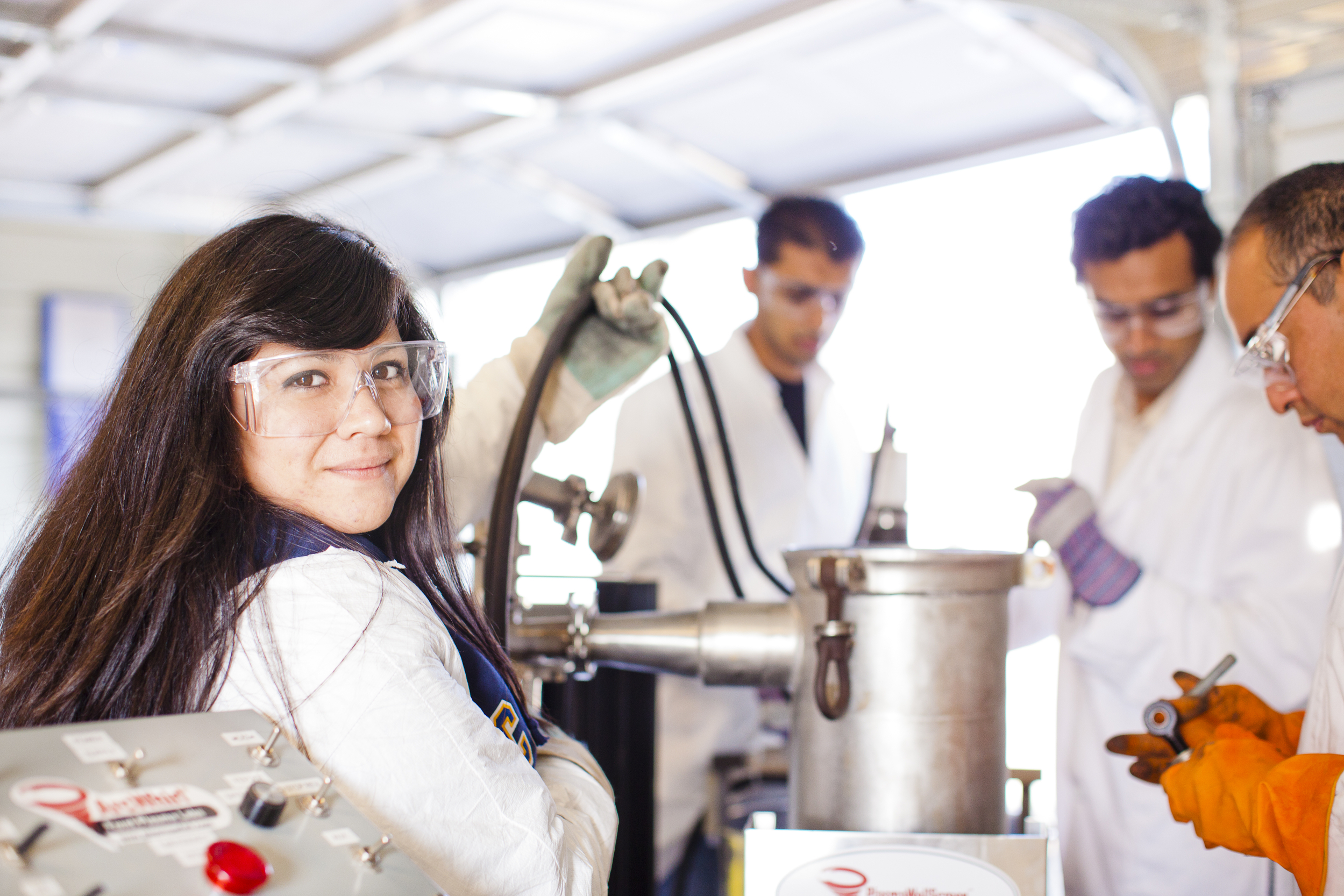 UC Merced student in lab